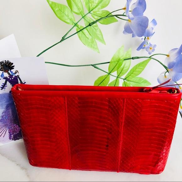 Vintage Handbags - Genuine Snakeskin Red Leather Clutch / Sling Bag